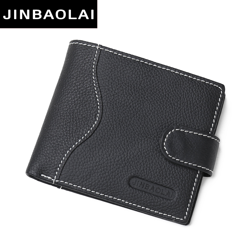 New 2017 JINBAOLAI Men Wallets Leather Genuine With Coin Bag Male Wallet Casual Purse Card Holder Wallet Men Carteira Wallets jinbaolai wallet men genuine leather zipper hasp coin purse short male leather men wallets money bag quality guarantee carteira