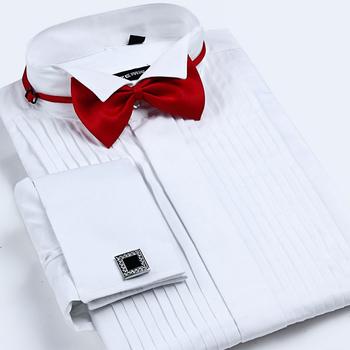 Męski francuski mankiet Tuxedo koszula jednolity kolor skrzydło wskazówka kołnierz koszula mężczyzna z długim rękawem ubranie koszule formalna ślub oblubieniec koszula tanie i dobre opinie GREVOL Tuxedo koszule Pełna COTTON Włókno poliestrowe Suknem Stałe Pojedyncze piersi Skręcić w dół kołnierz Formalne