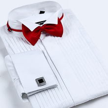 Męski francuski mankiet Tuxedo koszula jednolity kolor skrzydło wskazówka kołnierz koszula mężczyzna z długim rękawem ubranie koszule formalna ślub oblubieniec koszula