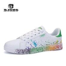 CBJSHO Size 45 46 Lace up Men's Vulcanize Shoes PU Leather Graffiti Mens Shoes Spring Autumn Cotton Fabric Shoes Man Black