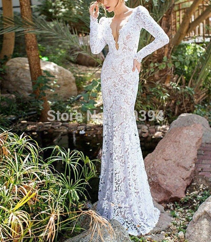 Vestidos de novia 2018 Boho кружева платья для свадьбы Винтаж V шеи индивидуальный заказ с длинным рукавом свадебные платья Robe De Mariage