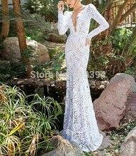 vestidos de novia 2018 Boho Lace Dresses for Wedding Vintage V Neck Custom Made Long Sleeve Wedding Bridal Gowns Robe De Mariage