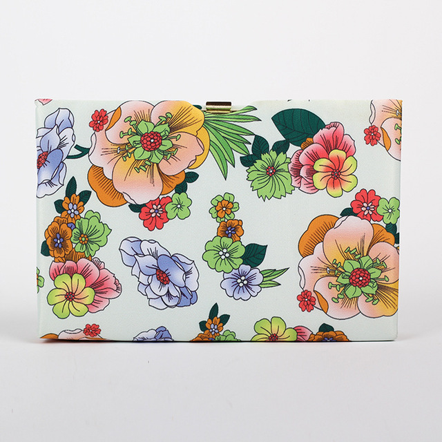 Spring Autumn Flower Print Women Fashion Brand Casual Day Clutches Evening Metal Handbag Clutch Hard Case Mini Flap Dinner Bag