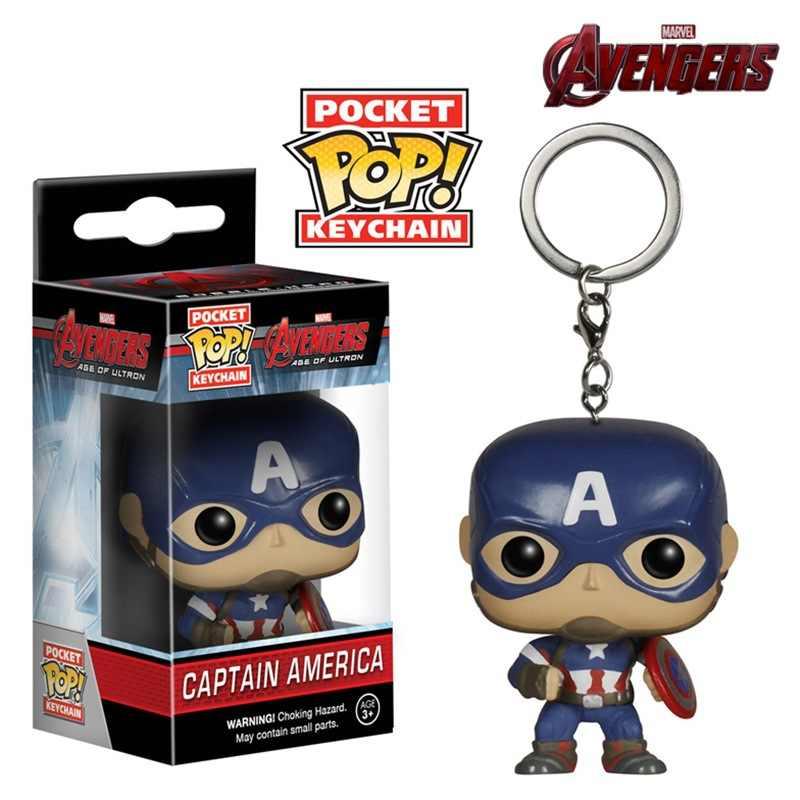 Funko Anime figura superhéroe Capitán América Batman llavero PVC vengadores llavero chico juguete llavero regalo