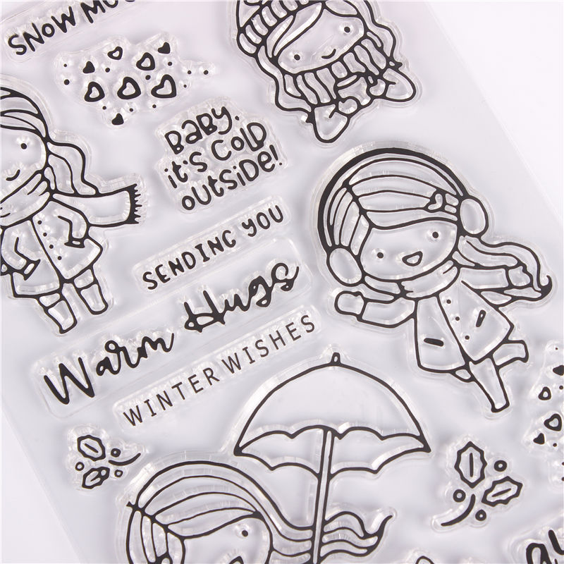 Rubber Silicone Clear Stamps for Scrapbooking Tampons Transparents Seal Background Stamp Card Making Diy girl Text stempel in Stamps from Home Garden