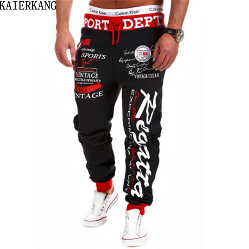 KAIERKANG brand men pants fall 2017 crime euramerican style leisure trousers printing style men s trousers