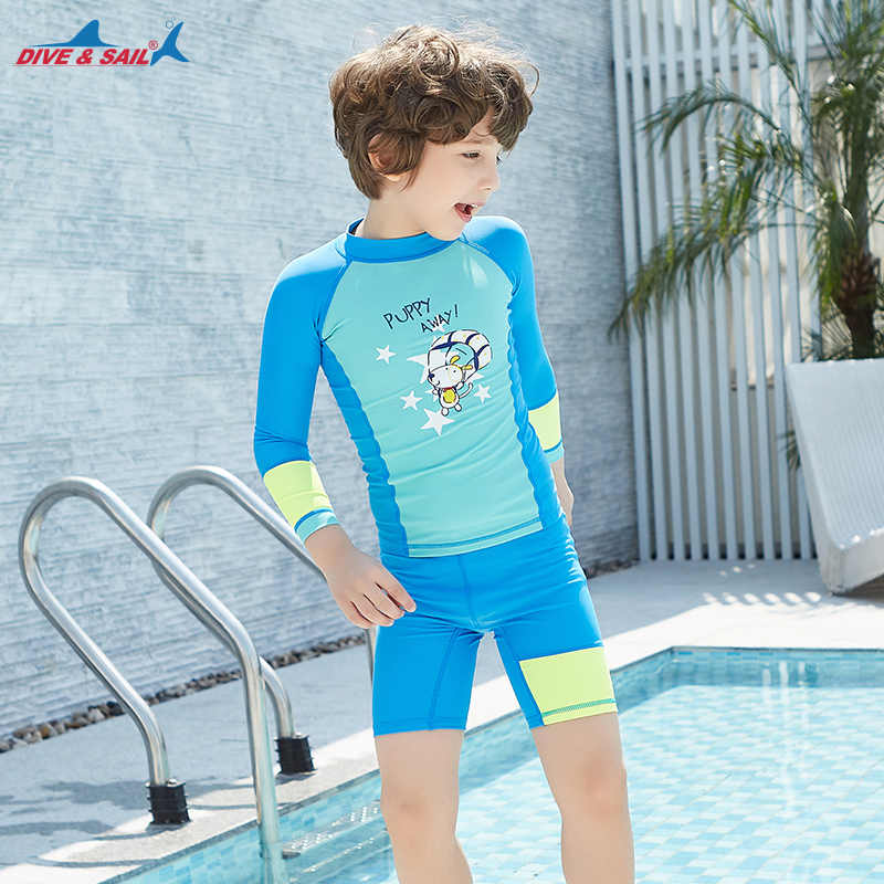 a99c45ea59 ... Dive & Sail Kids UPF 50+ Swimwear Lycra Swimsuit Sun Protection 2-piece  Set ...