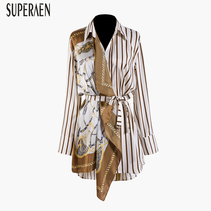 SuperAen Europe Fashion Women Shirt 2019 Spring New Cotton Wild Casual Blouses Female Striped Print Long