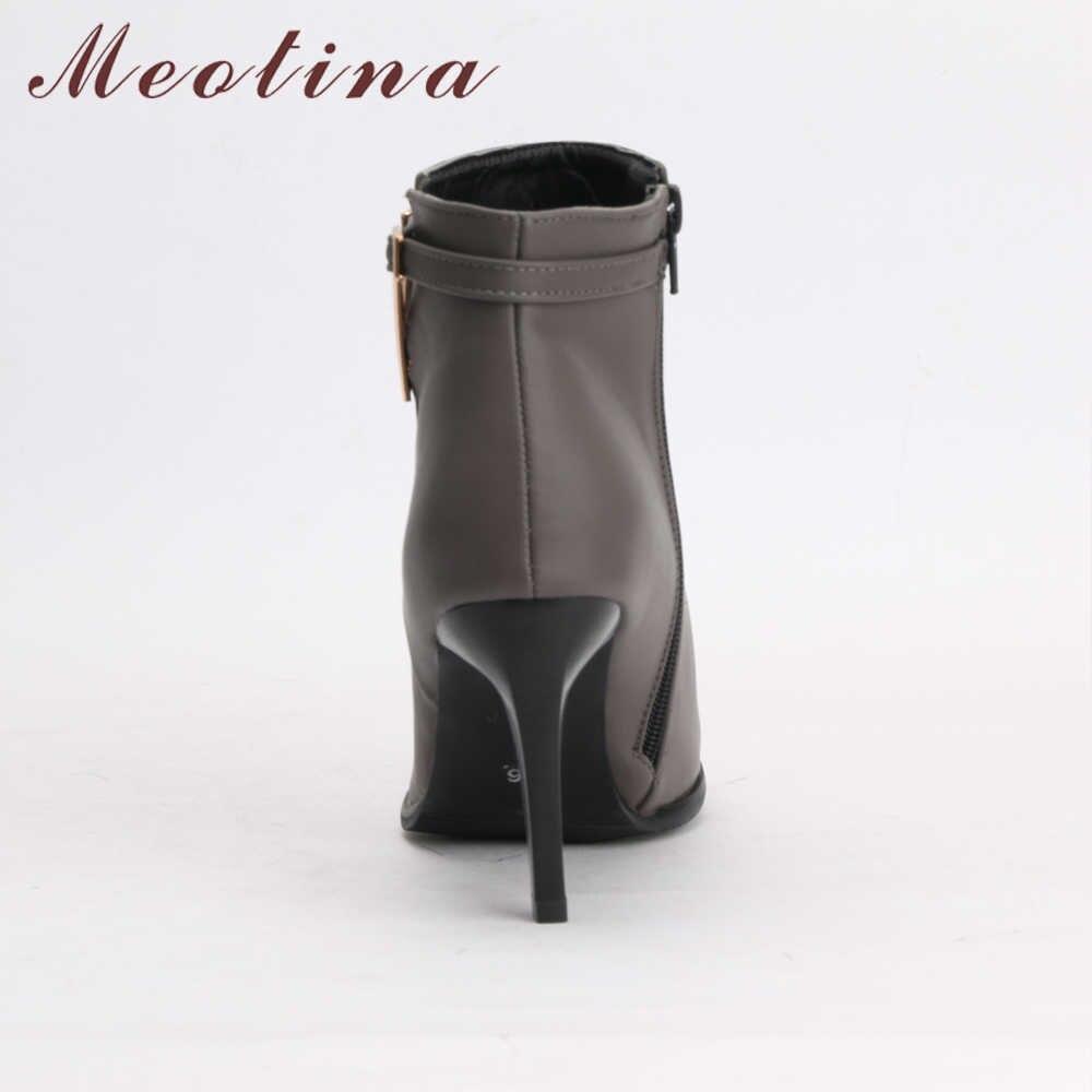 Meotina/ботинки женские ботильоны зимние ботинки на высоком каблуке серые короткие ботинки с острым носком на молнии на шпильках зима 2018 г. Размер 34-43