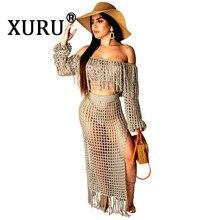 XURU summer new womens sexy fringed dress two-piece bohemian holiday beach fashion hollow bag hip