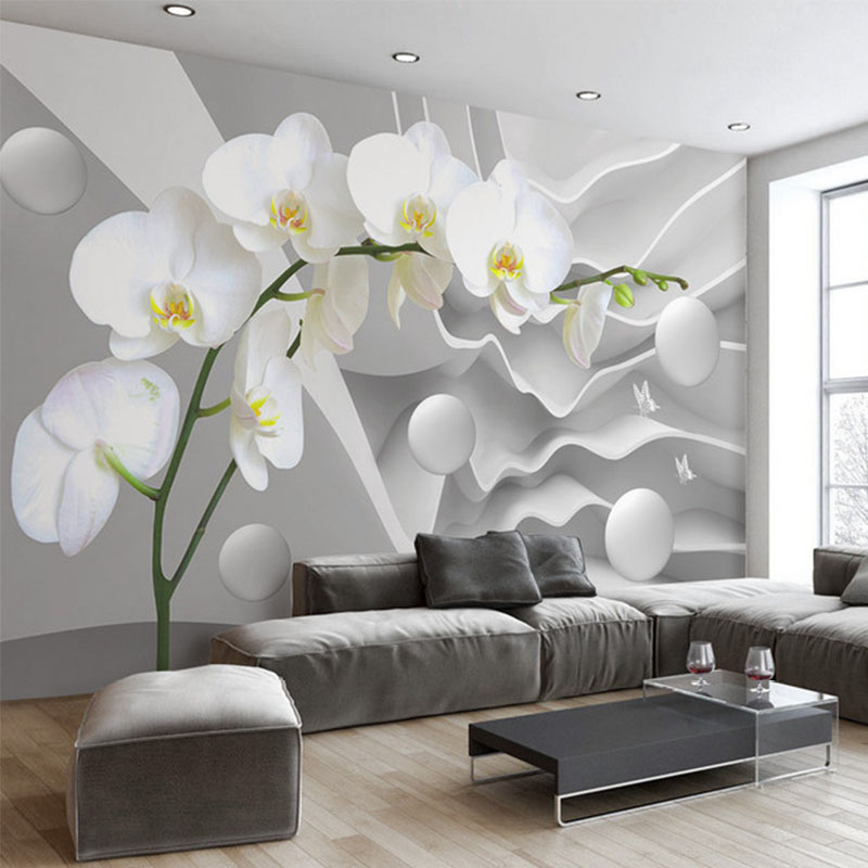 Popular orchid murals buy cheap orchid murals lots from for Cheap wall mural wallpaper