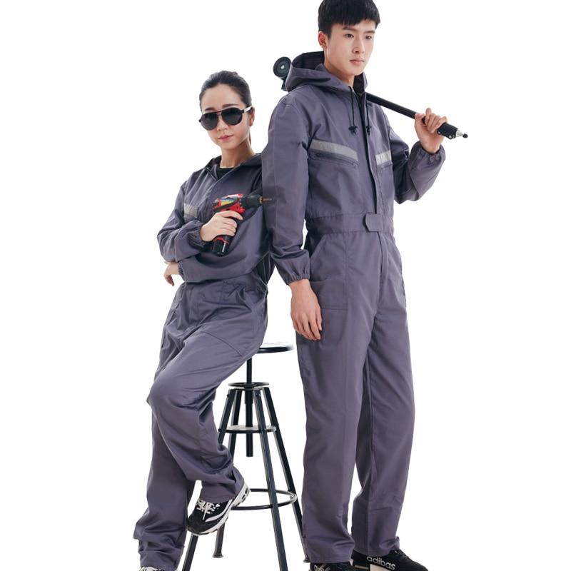 New Work Clothing Hooded Overalls Men Women Work wear Coveralls Reflective Stripe Repairman Machine Welding Worker wear   jumpsuit