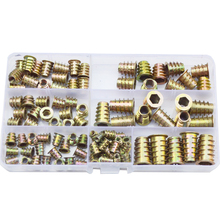 105pcs Hex Drive Head Flang Furniture Nuts For Wood Thread Insert Hexagon Nutsert Zinc Plated Set Assortment Kit M4 M5 M6 M8 M10