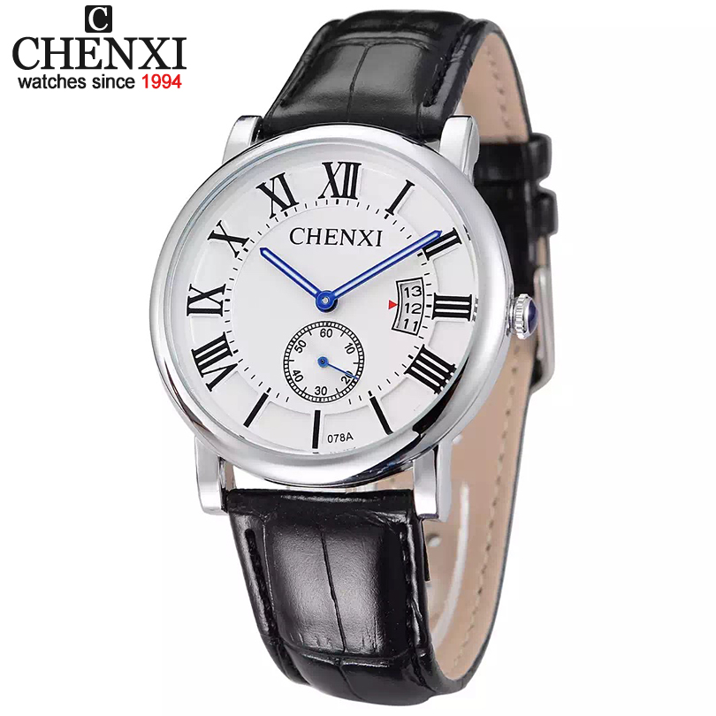 03d88f8e8c40 Lujo chenxi marca pu correa de cuero analógico fecha display hombres reloj  del cuarzo números romanos dial casual Relojes