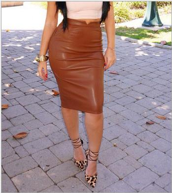 fdf0e8871 Fashion Sexy Faux Leather Pencil Skirt Black Red Winter AAutumn OL Joker Imitation  Leather Skirt Knee Wrapped Skirts