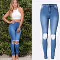 2016 High Waist Elastic Imitate Jeans Woman Knee Skinny Pencil Pants Slim Ripped Jeans For Women Black Ripped Stretch Jeans