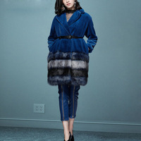 Роскошные Дизайнерские штаны из искусственной кожи, комплект из 2 шт., 2018 зимняя элегантная женская длинная шуба + узкие брюки, комплект женс