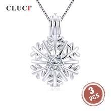 CLUCI 3pcs 925 סטרלינג כסף חורף פתית שלג נשים תליון זירקון פנינה כלוב חג המולד מתנה פניני תליון תליון SC345SB