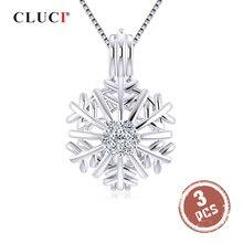 Cluci 3 pçs 925 prata esterlina inverno floco de neve feminino pingente zircão pérola gaiola presente de natal desejo pérola medalhão pingente sc345sb