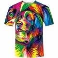 3D engraçado Impresso Camisetas Coloridas Animal Impressão 3D Camiseta Novidade Verão Tops de Manga Curta O-pescoço Camiseta Unisex