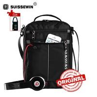 SWISSWIN Fashion Messenger Men Bag Business Shoulder Bag Black Handy Crossbody Bag Business Casual Bags Oxford