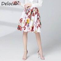 Delocah Spring Summer Women Skirt Runway Fashion Designer Flower Printed Slim Modern Casual Knee Length Ladys A Line Wild Skirt