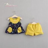 여름 아기 여자 아이 인쇄 파인애플 투투 주름 탱크 드레스 + 반바