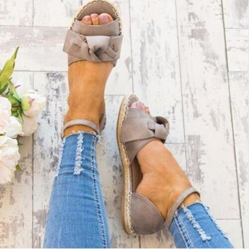 Women Sandals Plus Size 35-44 Flat Sandals Fashion Bowknot Summer Shoes Women Peep Toe Casual Shoes Buckle Strap Sandales Femme discount 2018 fashion leather casual flat shoes women sandals summer shoes flat hollow comfortable breathable size 34 44