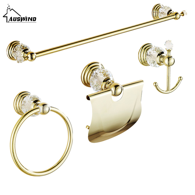 Gold Clear Crystal Bathroom Hardware Set 4 Item Wall Mount Polish Finish Bathroom  Accessories Set For