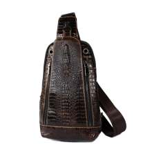 Crocodile pattern Chest pack rider genuine cowhide leather Tide High-capacity Shoulder Crossbody mens purses wallet  phone bag