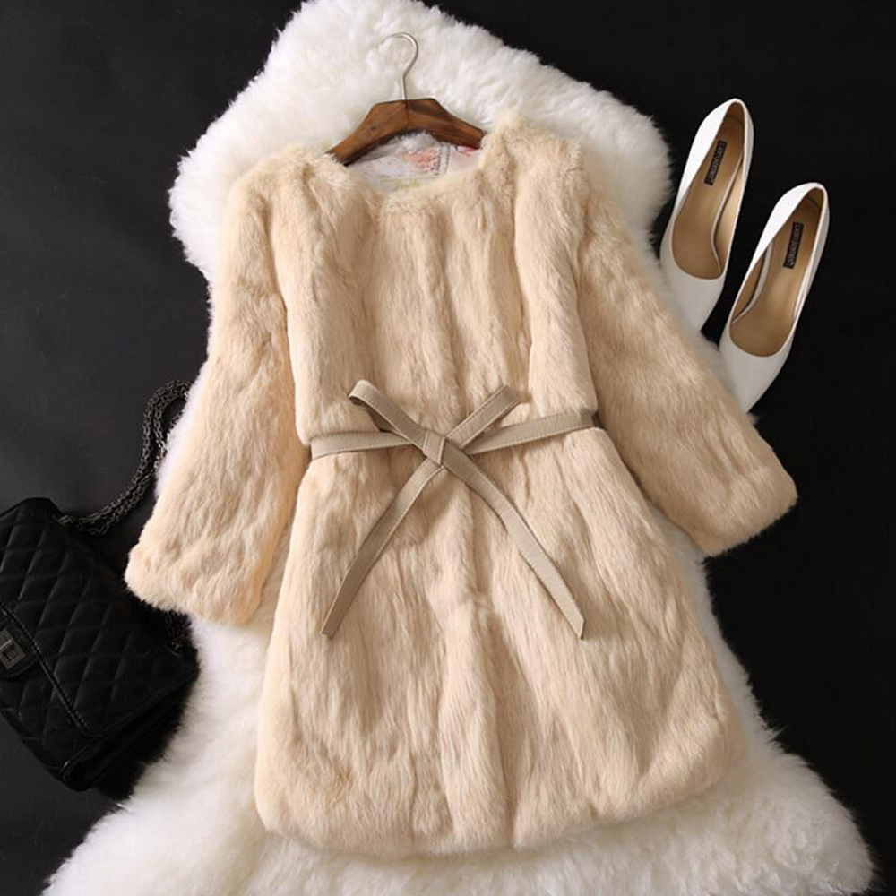 2019 New Arrivals Three Quarter Sleeve Full Pelt Natural Rabbit Fur Coat Factory Customize Handmade Real Fur Jackets ksr275