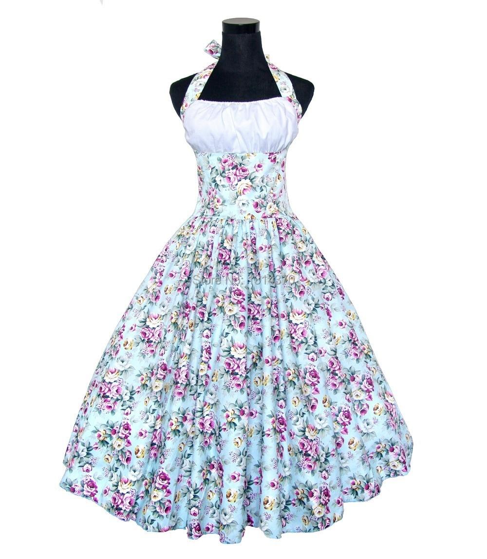 Žena letní houpačka 50s 60s Vintage Retro šaty Robe Rockabilly Pin up tištěné květinové šaty Plesové šaty Bavlněné šaty Vestidos