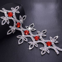 Flower Shape Sewing On Crystal Glass Rhinestone Patches Belt Red Stone Trimming Strass Bridal Wedding Dress