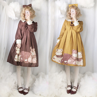 2018 Autumn Spring Sweet Lolita Princess Dress Kawaii Bear Doll Print Japanese Women Daily Doll Collar One Piece Dress 4 Color