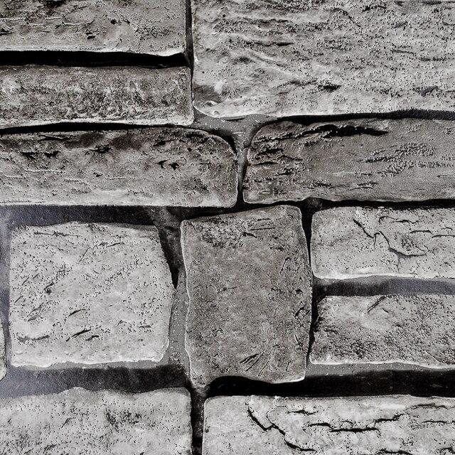 Gris Beige Brun Papier Peint En Vinyle Mur De Briques 3d Effet Tuile