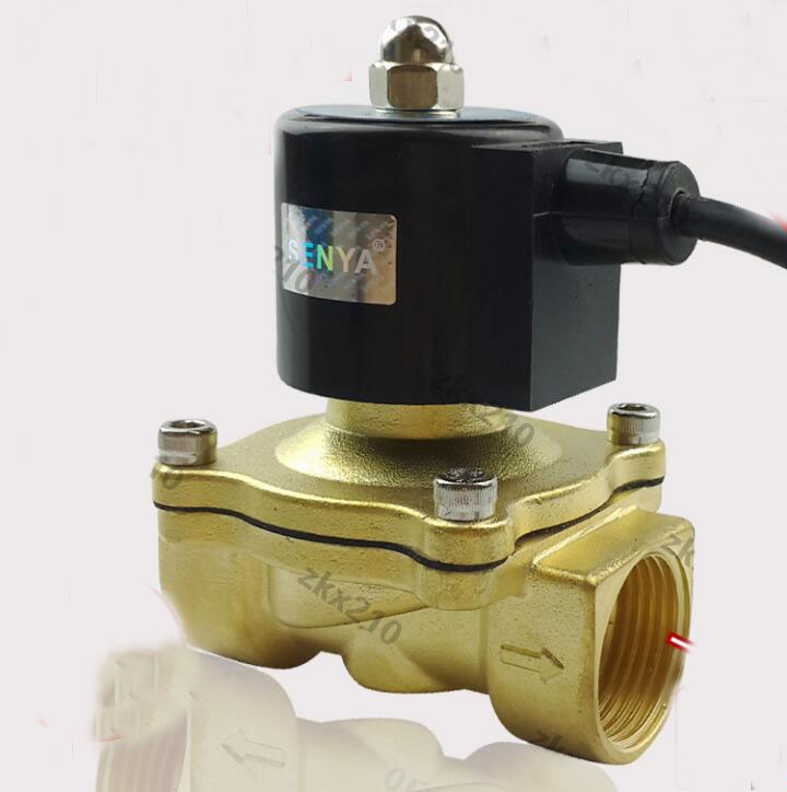 1 1/4 inch 2W series waterproof coil air ,water,oil,gas solenoid valve brass electromagnetic valve free shipping3 4 port size dn20 ip68 class under water brass electric solenoid valve waterproof coil music fountain valve dc24v