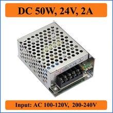 Fonte de Alimentação Transformador para LED 50 W 24 V 2A Comutação DA Tomada de Fábrica Smps Motorista 110 V e 220 Strip LUZ Ac-dc Módulo Display