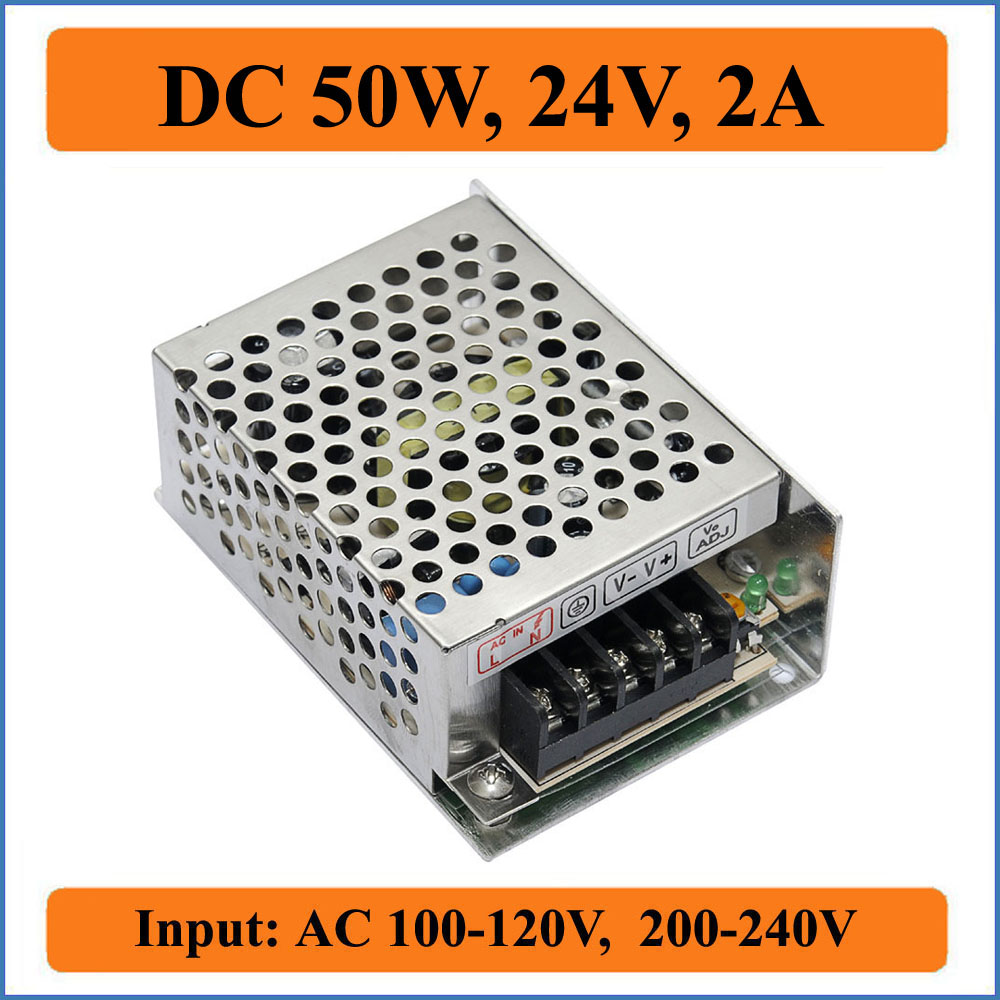 50W 24V 2A Switching Power Supply Factory Outlet SMPS Driver AC110V 220V Transformer to DC 24V