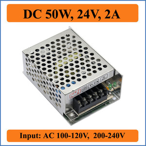 50W 24V 2A Switching Power Supply Factory Outlet SMPS Driver, AC110V/220V Transformer to DC 24V for LED Strips Light Display