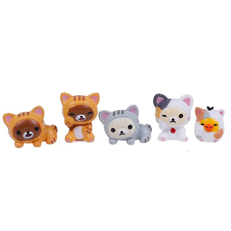5 teile/satz Schöne Katze Rilakkuma Cosplay Mini Katze PVC Action-figuren Spielzeug Moss Bonsai Kleine Landschaft Tiere Modell Dekoration Spielzeug