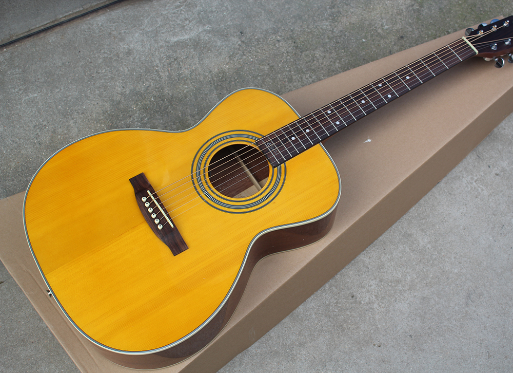 """Yellow 41""""Acoustic Guitar with Fisnman Pickups,Rosewood Fretboard with Signature,Chrome"""