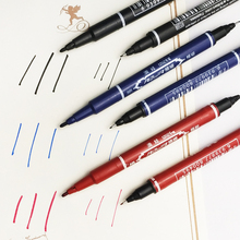 1pcs 3 Color Black Red Blue Double Oil Marker Pen 2 functions Water-based pen Office painting work Wholesale promotion