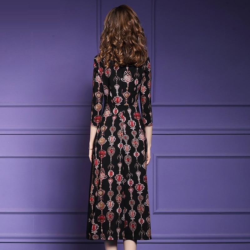 Street Femmes Longues Élégant 2018 Vintage Robe Perles Noir D'hiver De Sexy Robes Imprimer Ligne Printemps Taille Rome Plus Une Mère Nouveau High La WZq1zH8wwF