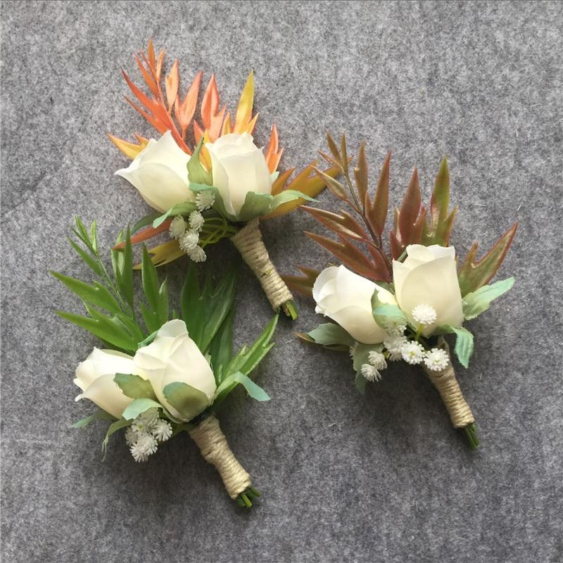 Wedding Flowers Boutonniere: WeddingBobDIY Artificial White Rose Wedding Party Flower