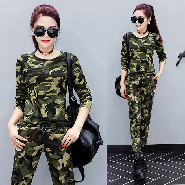 d5ee238bd Cool Camouflage Print Women Long Sleeve Slim T-Shirt 6xl big size Lady Tops  Army Style Casual Female Tee and pants women set
