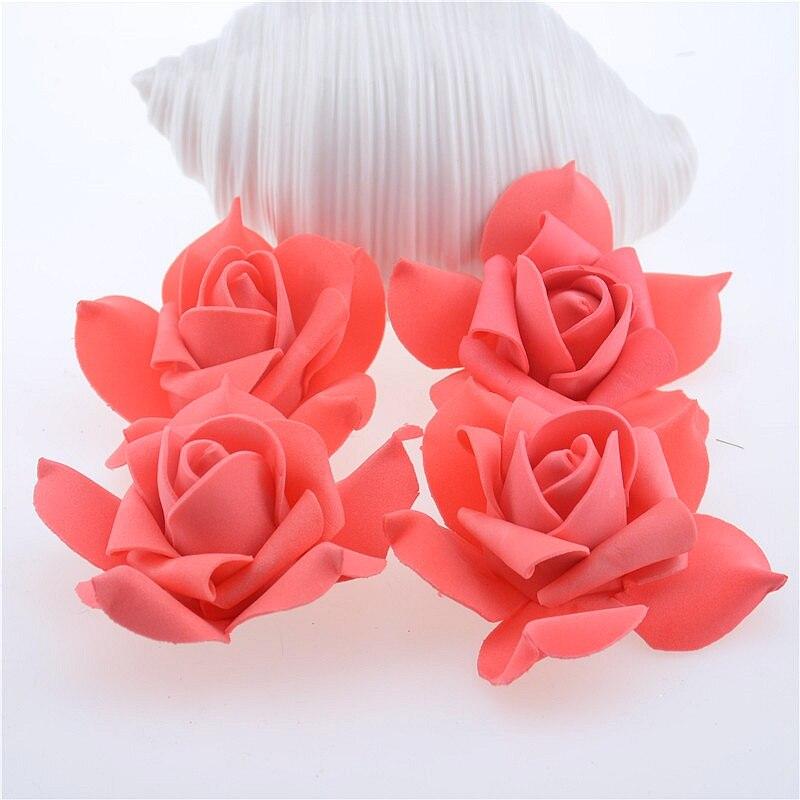 См 100 шт. 7 см искусственные цветы пены розы цветок глава свадебные украшения дома DIY ВЕНОК подарочные коробки искусственные цветы для скрапбукинга