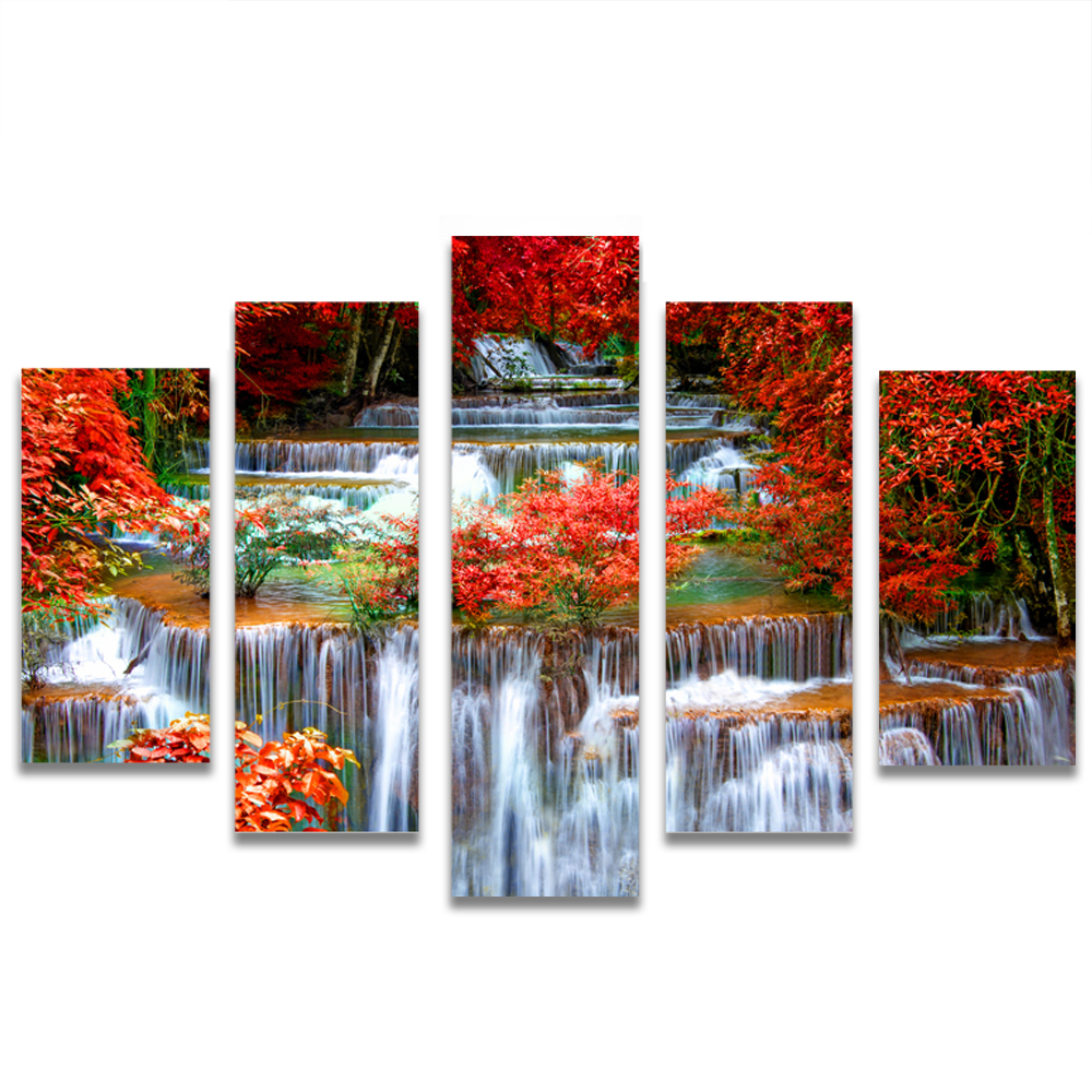 Unframed Canvas Painting Creek Red Maple Leaf Waterfall Photo Picture Prints Wall Picture For Living Room Wall Art Decoration