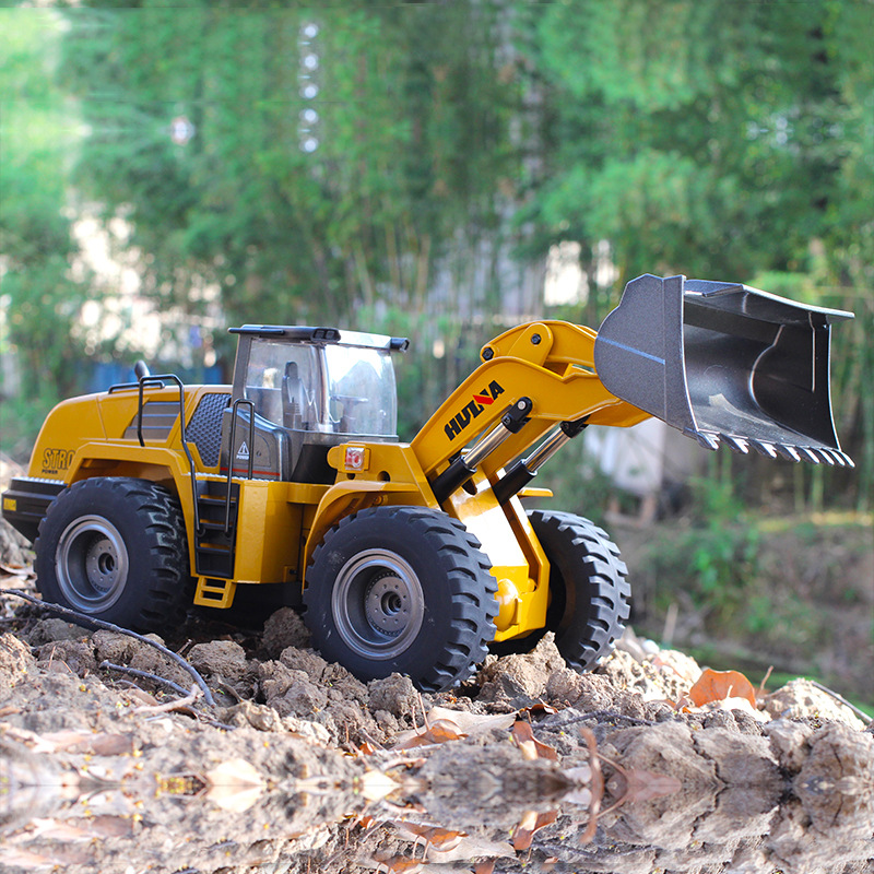 Huina 583 1583 10 Channel Full Functional Remote Control Front Loader Construction Tractor Full Metal Bulldozer