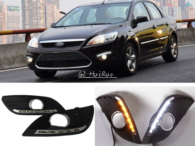 цена Free Shipping 2 Pcs/set Waterproof LED Daytime Running Light DRL +Turn Signal For Ford Focus Sedan Fog Lamp Modify 2012-2014