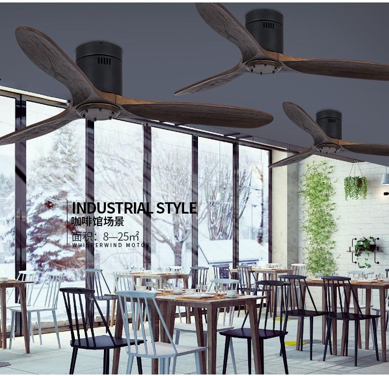 Moderno ventilador de teto madeira maciça luz
